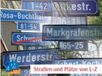 Straßen und Plätze von L-Z
