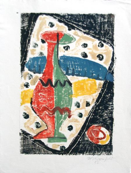 1952, Vase in Rot / Grün, Holzschnitt, 24 x 31 cm