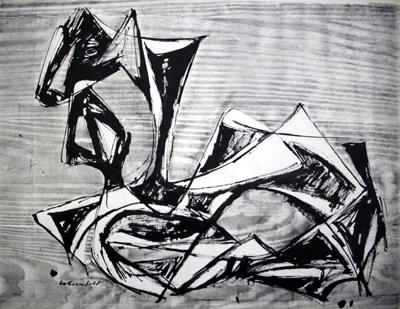 1953, Stier, Holzschnitt und Tusche, 60 x 46 cm
