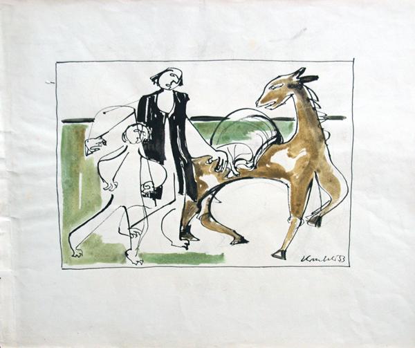 1953, Vorlage für eine Buchillustration, Mischtechnik, 52 x 43 cm