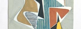 1957, Ohne Titel, Mischtechnik über Bleistift, 20 x 30 cm, montiert auf Träger