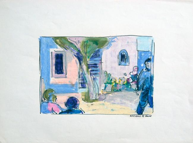 Rhodos 1965, Wachsstifte auf Papier, Blattgröße: 40 x 30 cm, Motiv: 23,5 x 16,0 cm