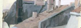 1967, Über den Dächern von Hörde, Acryl auf Karton, 36,5 x 30,0 cm
