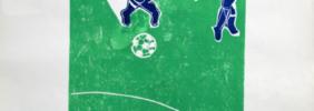 1970, Fußball-Szenen, farbige Holzschnitte, 42 x 62 cm