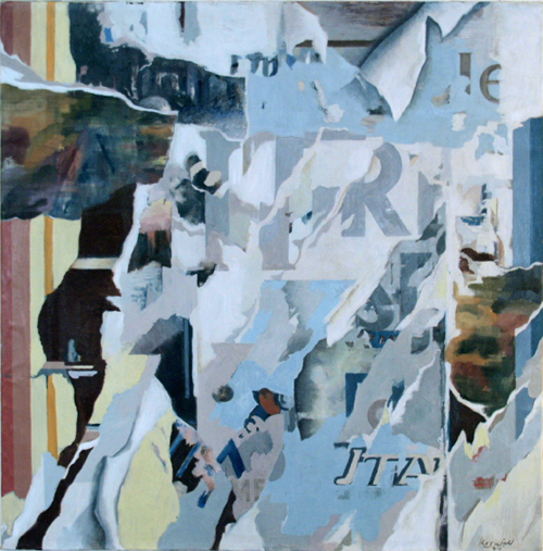 "1974, Plakatabriss ""R"", Oel / Lwd, 100 x 100 cm"