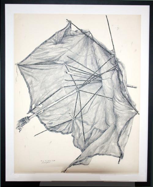 1976, Es war einmal ein Knirps, Handzeichnung auf Papier, Sephia und Bleistift, Blattgröße 51 x 65 cm, mit Rahmen 62 x 75,5 cm