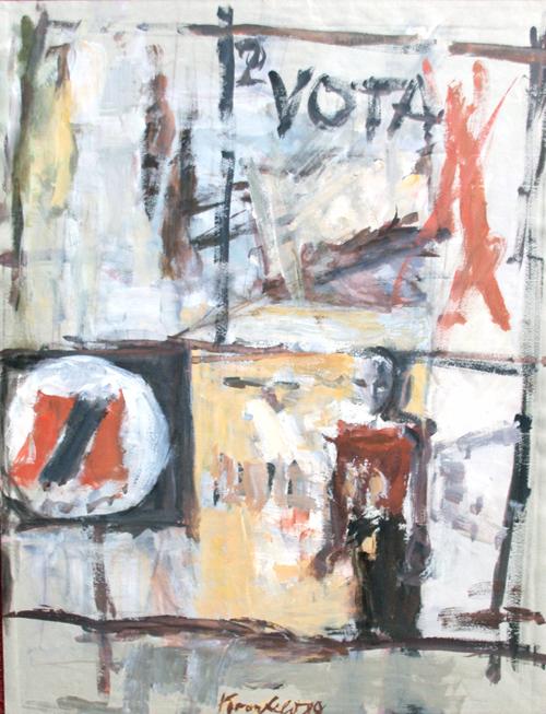 1989, `VOTA 2`, Plakatwand vor dem Abriss, Acryl / Papier, 47,5 x 62 cm