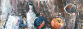 1993, Flasche-Becher-Obst, Acryl auf Tonpapier, 44 x 49 cm