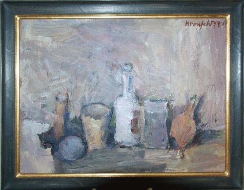 1997, Stilleben mit Gefäßen, Acryl / Malkarton, 40 x 30 cm, im Conzen Modell-Rahmen