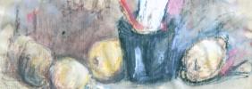 31.10.2001, Stilleben, Mischtechnik auf Packpapier, 29 x 24,5 cm