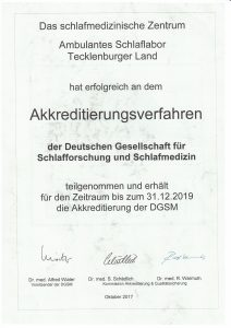 Zertifikat für das Schlaflabor Tecklenburger Land