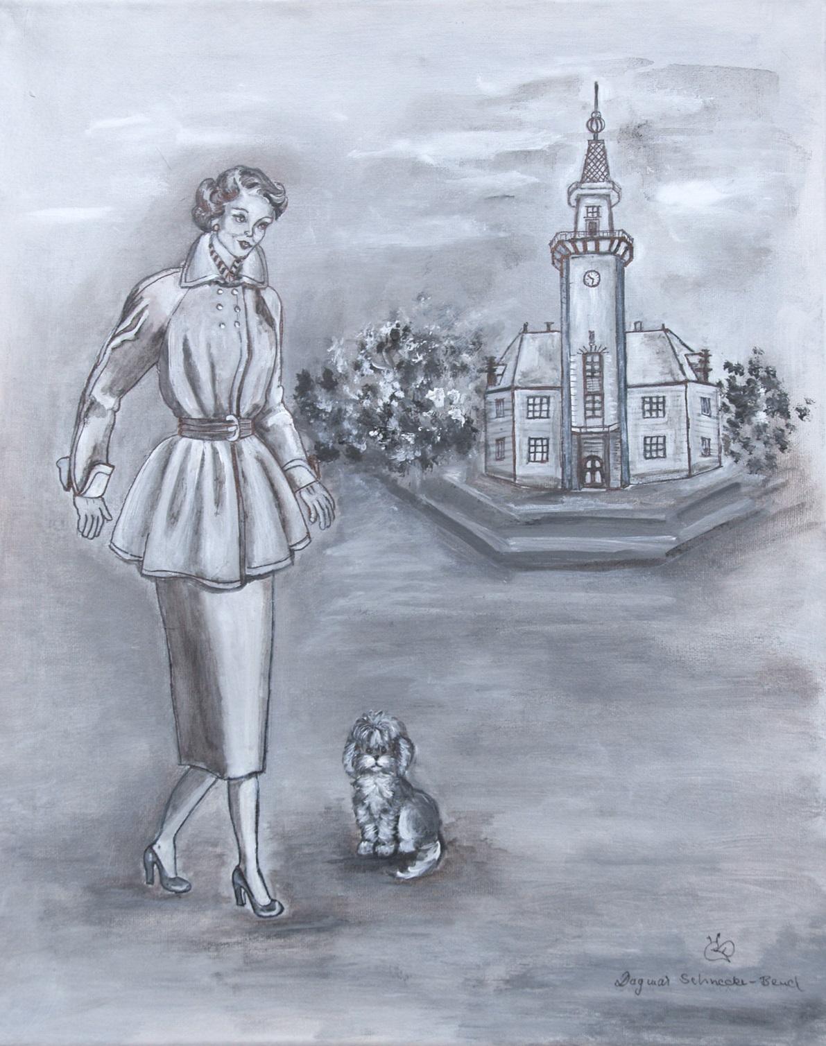 Aus der 50er-Jahre-Serie von Dagmar Schnecke-Bend: Spaziergang am Hafenamt, Acryl auf Leinwand, 40 x 50 cm