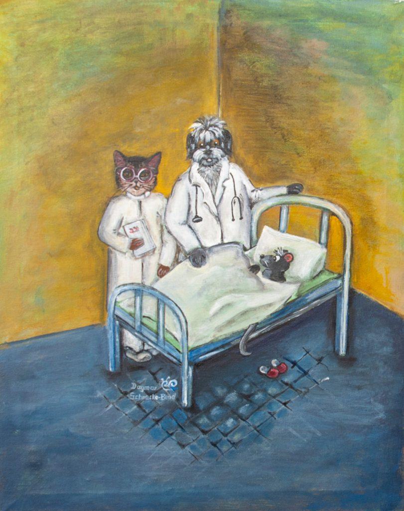 """Das Krankenbett"", 40 x 50 cm, Acryl auf Leinwand, Dagmar Schnecke-Bend, 2020"